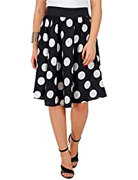 BLACK BIG POLKA PRINT SKIRT