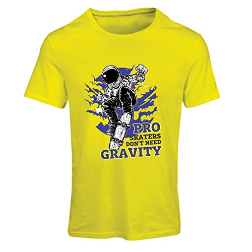Camiseta Mujer Pro Skaters Don't Need Gravity - Refranes del Skateboard, me Encanta Patinar (Large Amarillo