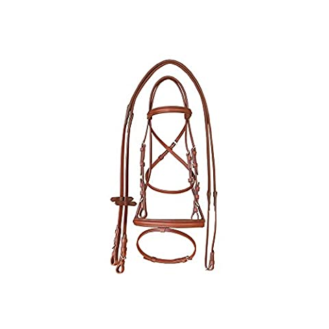English Bridle Leather Upper With Domed Bezel and Rubber Reins – br00610, cognac