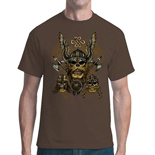 Gothic Fantasy unisex T-Shirt - Drei Wikinger Schädel by Im-Shirt - Bear Brown 5XL (Schädel-brown-t-shirt)