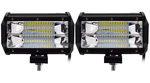 Leetop 2X 72W 36W 120W 180W LED Arbeitsscheinwerfer Off-Road Scheinwerfer Bar Fernlicht 12V-24V Reflektor Lampen IP67 Wasserdicht Zusatzscheinwerfer Flutlicht für Auto Jeep Traktor SUV(72W-D) -