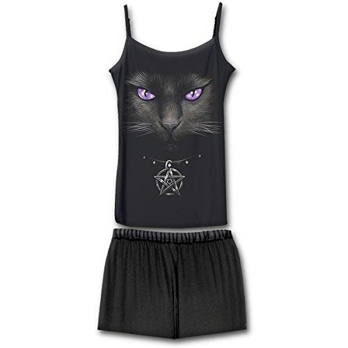 Spiral Direct Damen Bright Eyes-4pc Gothic Pyjama Set Zweiteiliger Schlafanzug, Schwarz (Black & White 008), Medium