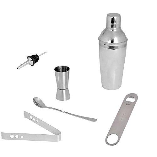 Kosma Cocktail Set von 6 Stück | Edelstahl Bar Tools (Cocktail Shaker 750 ml, Peg Messen, Mischen Löffel, Wein Geschenkverpackungen, Flaschenöffner und Eis Tong)