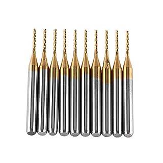 Schaftfräser,Titan Mantel Hartmetall Schaftfräser Gravur Bits Fräser Schneidwerkzeug 1,0-3,0mm3,175mm x 1mm,10pcs