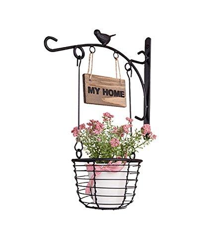 Zhanwei ripiani cestino di ferro per appendere cestini da giardino a parete sedia da esterno in stile europeo succulente scaffale a fiori scaffale fioriera ( colore : nero , dimensioni : 23*20cm(pack of 2) )