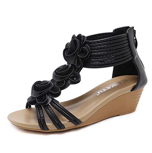 GHFJDO Damen Wedge Sandalen, Ladies Summer Sandals Strappy Blume Low Heel Flatte Flatte Flatte Schuhe Größe,Black,37EU - Womens Strappy Wedge Sandal