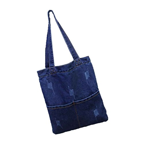 88b1831e78b9c Miaomiaogo Frau Leinentasche Denim Large Capacity Shopping Tote  Umhängetasche Student Buch Schultasche Damen Tasche für Outdoor
