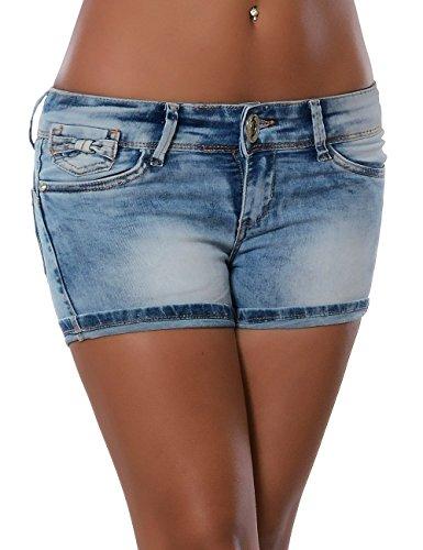 Damen Jeans Shorts Hot-Pants Kurze Sommer-Hose No 15669 Blau