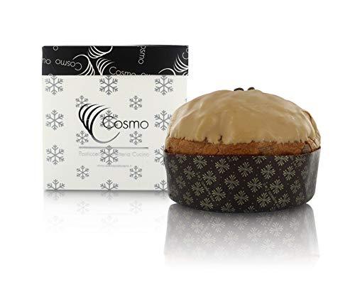 Pasticceria Cosmo Handgefertigter feinschmecker Panettone mit Kaffeeglasur, Aprikose, karamellisierter Schokolade und Tonkabohnen (1 kg)