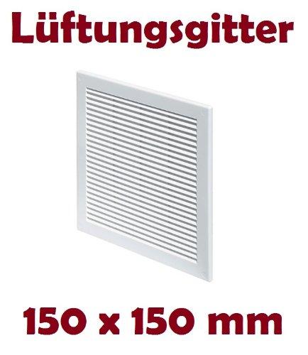 Lüftungsgitter Abschlussgitter Insektenschutz 150 x 150 mm weiß Gitter TRU2