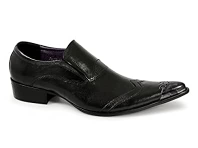 Gucinari SEBASTIAN Mens Metal Toe Cap Cuban Heel Shoes Black UK 6