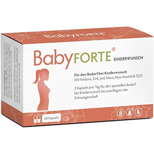 BabyFORTE Kinderwunsch Vitamine - Vegan + Maca, Myo-Inositol, Q10 + 800 mcg Folsäure Kinderwunsch, Vitamin D, Jod + 60 Kapseln für 30 Tage