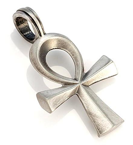 Bico Ankh Anhänger (E327)–Ägyptisches Symbol, Ewiges Leben–Satin Silber Fertig