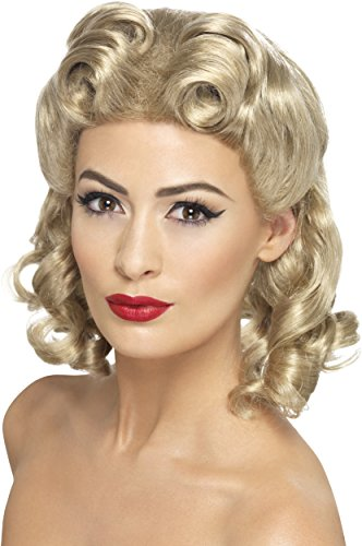 Perücke Kostüm Blonde Fever - Smiffys, Damen Sweetheart Locken Perücke, One Size, Blond, 26230