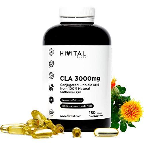 CLA Ácido Linoleico Conjugado 3000 mg por dosis | 1000 mg x 180 perlas de Aceite Vegetal de Cártamo (Suministro para 2 meses) | Para Perder peso, Aumentar la musculatura, Quemar grasa y Adelgazar.