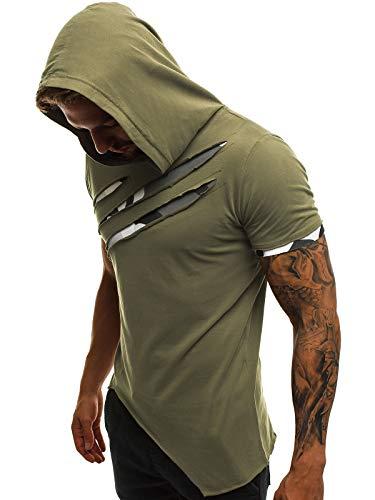OZONEE Mix Herren Tanktop Shirt Tankshirt T-Shirt Kapuzenpullover Unterhemden Ärmellos Muskelshirt Fitness Sommer Basic Kurzarm A/1185 GRÜN L