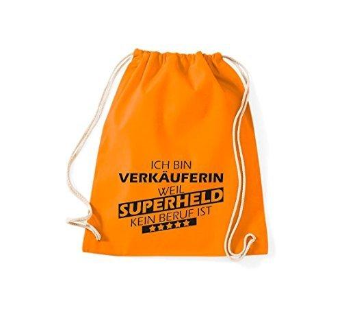 Shirtstown Borse palestra Ich bin Assistente negozio, weil Super eroe niente Occupazione è - Viola, 37 cm x 46 cm Arancione