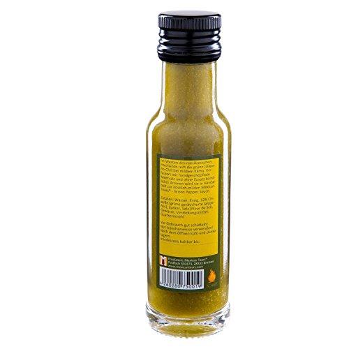 41Ub6oVuqQL - Mexican Tears® - Green Pepper Sauce - 3er Pack, scharfe Sauce aus Chili & Meersalz, perfekt als Grill-Zubehör für BBQ Sauce, Pulled Pork & zum Aufpeppen von Suppen [3x100ml Chilisauce]