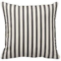 Huabuqi Velvet Decorative Accent Square Taie d'oreiller pour lit Classic Ticking Stripe Pattern Noir et crème (One Sides 18 X 18 po