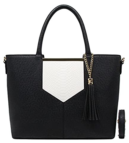 CRAZYCHIC - Women Top-handle Bag - Tote - With Python embossed and Pompom - Back to school - Black and