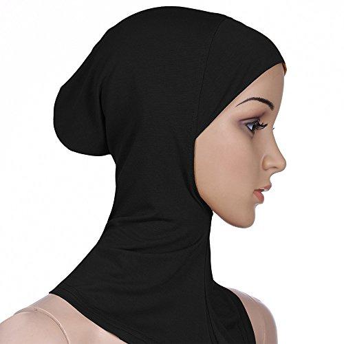 Muslim Damen Einfarbig Strecken Turban Hut Hälfte Hals Wickeln Kopfbedeckung Hijab Chemo Kappe Haar Kopftuch Islamischen Abaya Dubai Frauen Hidschab Schal (Schwarz)