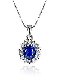 Bodya Oval Blau Simulierte Saphir Edelstein Weiß Gold vergoldet Anhänger Halskette mit 45,7cm Silber Kette