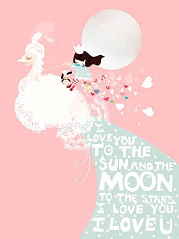 Oopsy Daisy I Love You To The Sun and The Moon Canvas Wall Art, Pink, 18 x 24