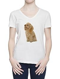 Perro Del Caniche V Cuello Camiseta Para Mujer Blanca Todos Los Tamaños | Women's White V Neck T-Shirt Top