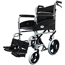 Plata 601X aluminio silla de ruedas de tránsito ligera con Attendant Handbrakes