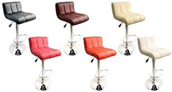 NEW FAUX LEATHER KITCHEN BREAKFAST BAR STOOLS BARSTOOLS STOOL BLACK PINK  BROWN (RED)