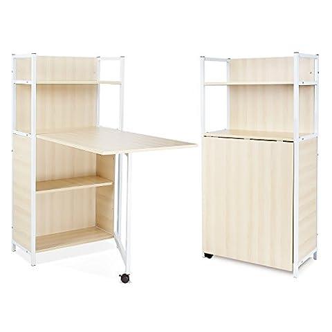 HOMFA Computer Desk Compact Folding table with 4 Tier storage Shelves Work for Study Workstation/PC Desk/Bookcase 121 x 30 x 62cm (Oak)