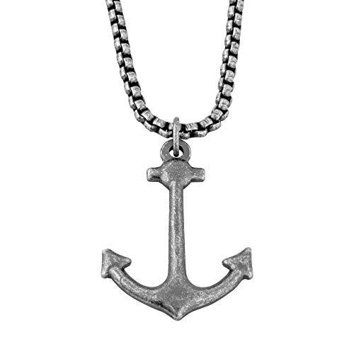 Akitsune Portus Anhänger inkl. 70cm Kette | Halskette Hafen Anker Nautisch Maritim Damen Herren Edelstahl - Antiksilber
