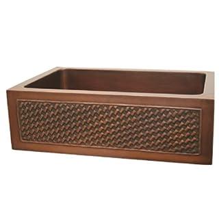 Whitehaus Rz Haus 30 Inch Rectangular Undermount Sink With A Basket Weaving Design Front Apron Smooth Bronze