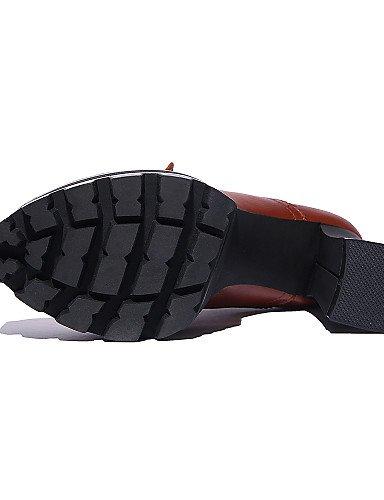 ZQ hug Scarpe Donna - Scarpe col tacco / Stivali - Tempo libero - Tacchi / Plateau / Punta arrotondata - Quadrato -Di pelle / Nappa Leather / , brown-us8 / eu39 / uk6 / cn39 , brown-us8 / eu39 / uk6 / black-us5.5 / eu36 / uk3.5 / cn35