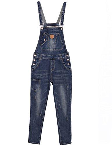 Damen Jeans-Latzhose Dungaree Slim Bib Overall mit Knöpfen