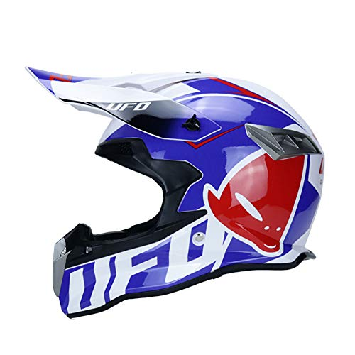 WZFC Casco Motocross Integrale Motard Downhill Caschi Moto Cross Integrali DH Omologato Donna Uomo (Model-UFO-2),Blue,S