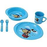 Baby Kinder Geschirr Set Kindergeschirr Frühstücks-Gedeck Ess-Lern-Set 5-tlg. Blau