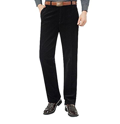 ZKOO Homme Epais Cotelé Pantalon en Velours Hiver Coton Pantalon Droit Pantalon Loisirs (Sans Ceinture) Noir