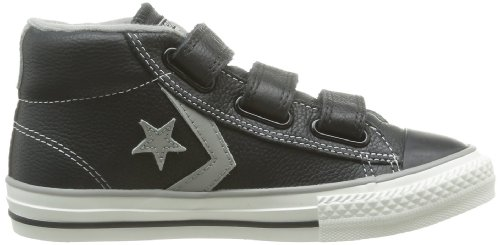 Converse Star Player Junior 3v Leather Mid, Unisex-Kinder Hohe Sneakers Schwarz (81 NOIR/GRIS)