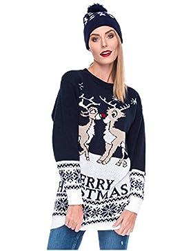 Weihnachtspulli Christmas Sweater Damen Sweatshirt Pullover Merry Christmas Rentier Weihnachten Pulli Elf
