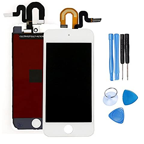 Ibaye® Full LCD Display Touch Screen Digitizer Frame for APPle IPod Touch 5 5th Gen in White Full Set with Free