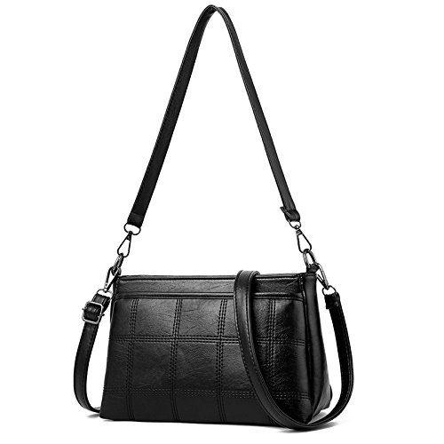 GUANGMING77 Spalla _ Automobile Solido Spalla Di Sutura Messenger Bag Piccolo Pacchetto,Nero black