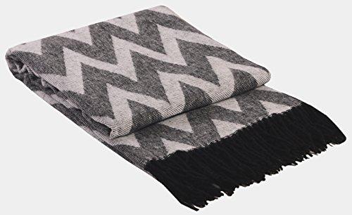 Wolldecke Wohndecke Plaid Decke Kuscheldecke Tagesdecke 130x185 cm Schwarz/Grau-Weiß Palma