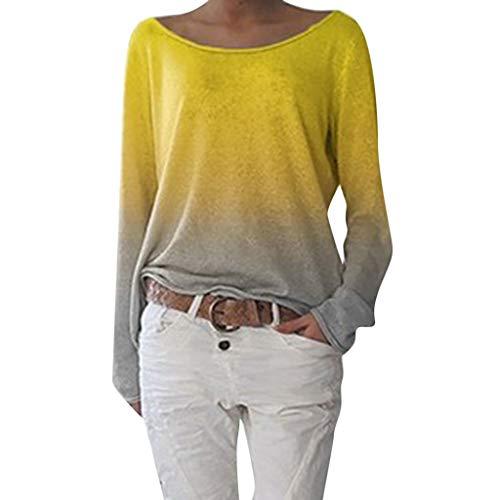 Innerternet Damen Pulli Langarmshirts T-Shirt Rundhals Ausschnitt Lose Bluse Hemd Farbverlauf Pullover Langarmshirts Oversize Sweatshirt Oberteil Tops Shirts (V-ausschnitt Mit Kabel Kaschmir Pullover)