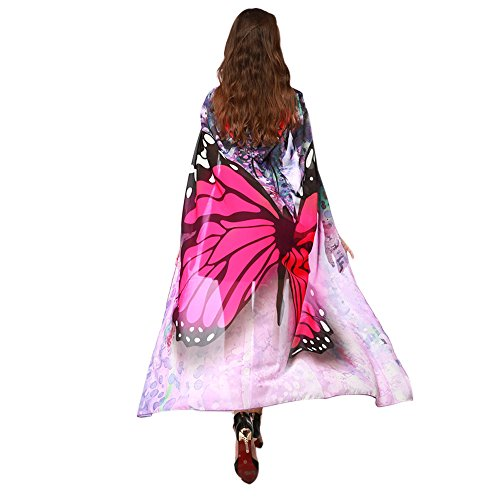 MRULIC Damen 140 * 100CM Neuheit Printed Chiffon Schmetterling Flügel Cape Schal Pfau Poncho Schal Wrap Pixie Karneval Cosplay Weihnachten Cosplay Kostüm Zusatz (Flügel Cape Kostüm)