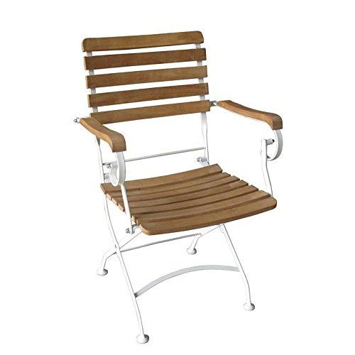 Sedex Flex Gartenstuhl Klappsessel Akazienholz mit weißen Gestell