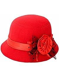 zhouba mujeres fiesta viaje Retro flores Bowler Color sólido sombrero de Fedora Bowler Caps rojo rosso talla única