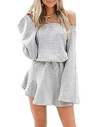 Simple-Fashion Primavera e Autunno Maglioni Mini Vestito a Tunica Donne  Sexy Scollo a Barca Manica Lunga Abiti da… e58142e6e7f