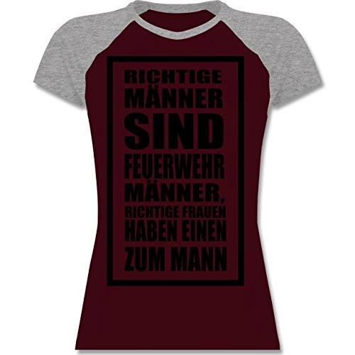 Shirtracer Feuerwehr - Feuerwehr - Richtige Männer - Zweifarbiges Baseballshirt/Raglan T-Shirt für Damen Burgundrot/Grau meliert