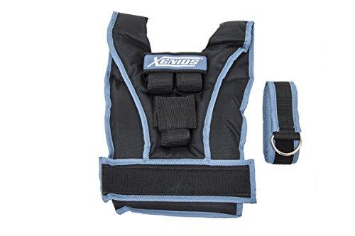 Xenios USA Verstellbare Gewichtsweste aus Nylon 10 kg Maximal mit 10 Gusseisen Ziegel 3 lbs (1 kg), VSWGVT04